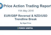 Price Action Trading Report - EURGBP Reversal and NZDUSD Trendline Break